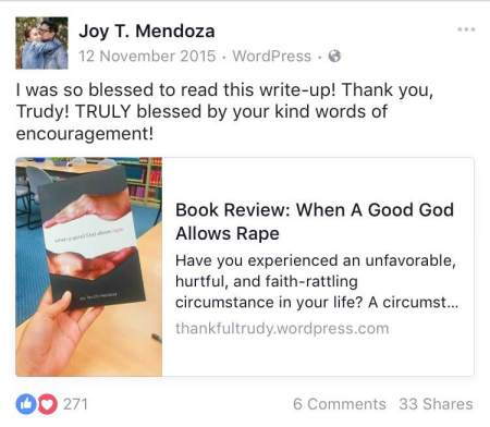 Teach with Joy_Book Review_When a Good God allows Rape, November 2015